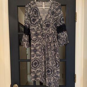 Navy Blue Paisley Dress